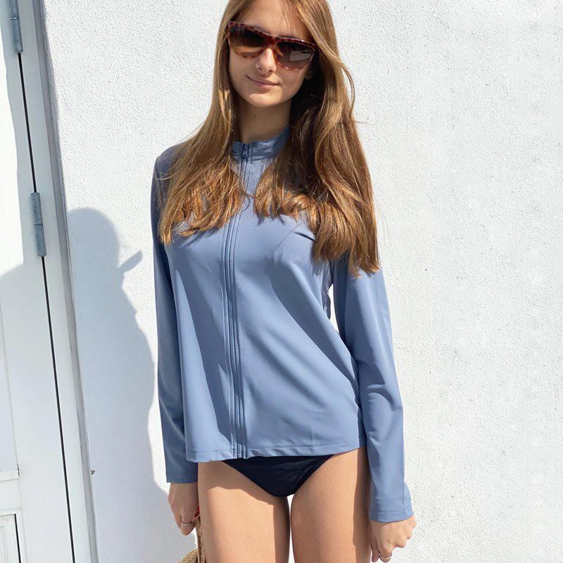 UV shirt Midnight fog met rits; Dames (13+ jaar), UV shirts, UV shirt Dames, Volwassenen (13+), Dames UV Shirts Petit Crabe