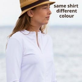UV shirt Blue met rits; Dames (13+ jaar), UV shirts, UV shirt Dames, Volwassenen (13+), Dames UV Shirts Petit Crabe