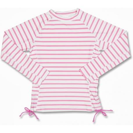 UV Shirt Roze met witte strepen lange mouwen