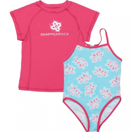 UV shirt & badpak Ocean Raspberry (2 delige set)