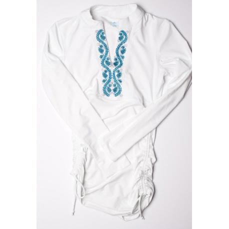 UV shirt white/blue plooi