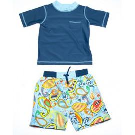 UV shirt en boardshort paisley blue