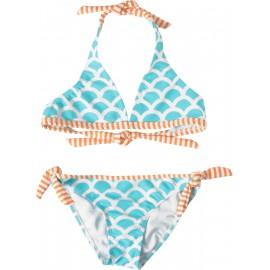 UV shirt orange stripe met blauwe bikini