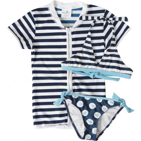 UV shirt  rits blauw met bikini | 3 delige uv set meisjes
