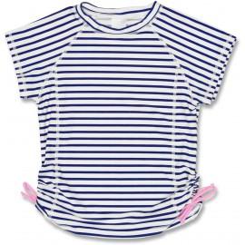 UV shirt donker blauw met witte lijnen | UV shirt meisje