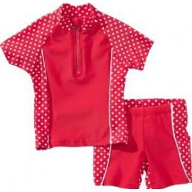 UV shirt en zwembshort rood met witte stippen