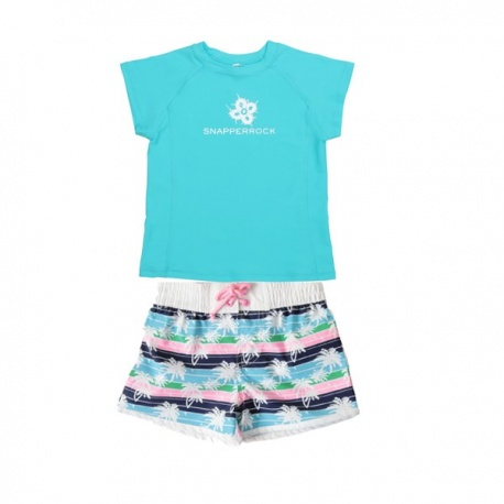 UV shirt aqua & zwemshort Palm Tree