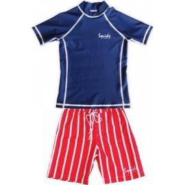 UV shirt blauw en zwembroek rood gestreept