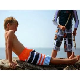 UV boardshort Navy Orange Stripe