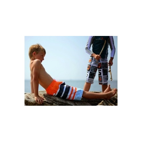 UV boardshort Navy Orange Stripe