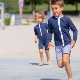 UV shirt lange mouwen met rits- Blauw