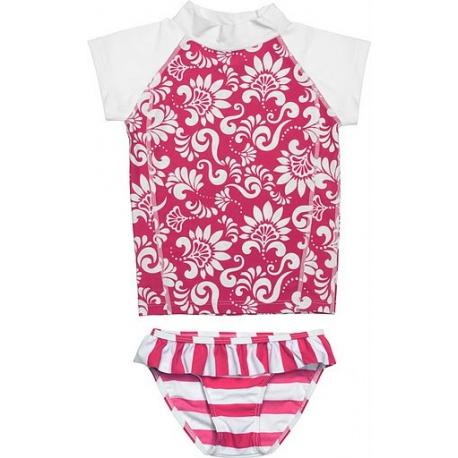 UV shirt & short Red & White flower