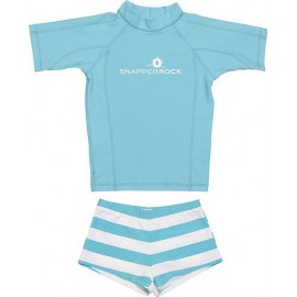 UV shirt & short Aqua & white stripe