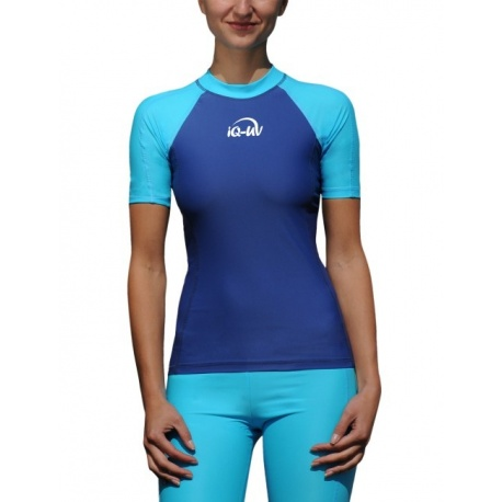 UV Shirt dames Slim Fit Navy Turquoise IQ UV
