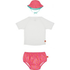 Baby UV setje: UV shirt wit + zwemluier & hoedje peach star