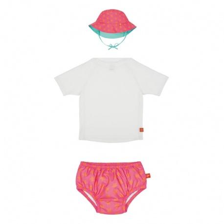 Baby UV setje: UV shirt wit + zwemluier & hoedje peach star