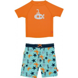 Baby Zwemset: UV Shirt Orange + Zwembroek Star Fish