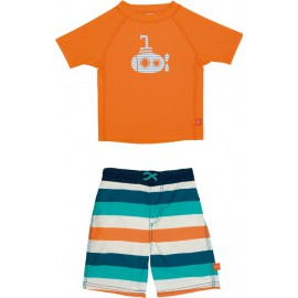 Zwemset: UV Shirt Orange + Zwembroek Multistripe