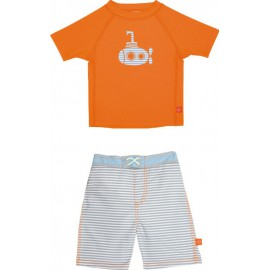 UV zwemset: UV shirt orange + boardshort small stripe Lassig
