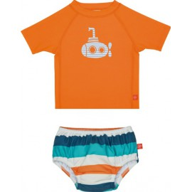 Zwemset: UV Shirt orange + Zwemluier Multistripe | baby uv zwemset