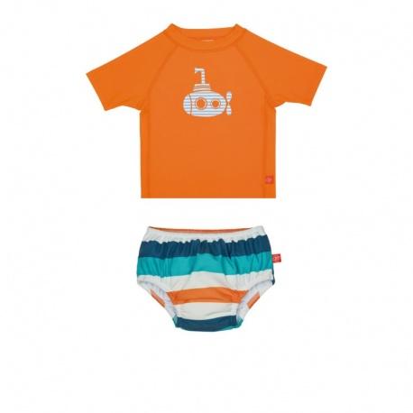 Zwemset: UV Shirt orange + Zwemluier Multistripe | baby uv zwemset