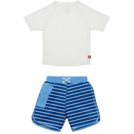 Zwemset: UV shirt wit + zwembroek Royal Blue