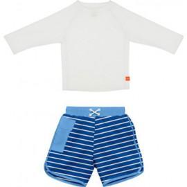 Zwemset: UV Shirt White LS + Zwembroek Royal | uv baby zwemset