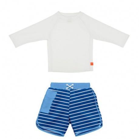 Zwemset: UV Shirt White LS + Zwembroek Royal   uv baby zwemset