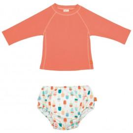 Zwemset: UV Shirt Peach + Zwemluier IJsjes | uv zwemset baby