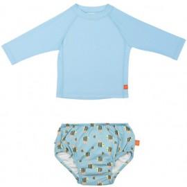 Zwemset: UV Shirt Licht Blauw LS + Zwemluier Bumblebee