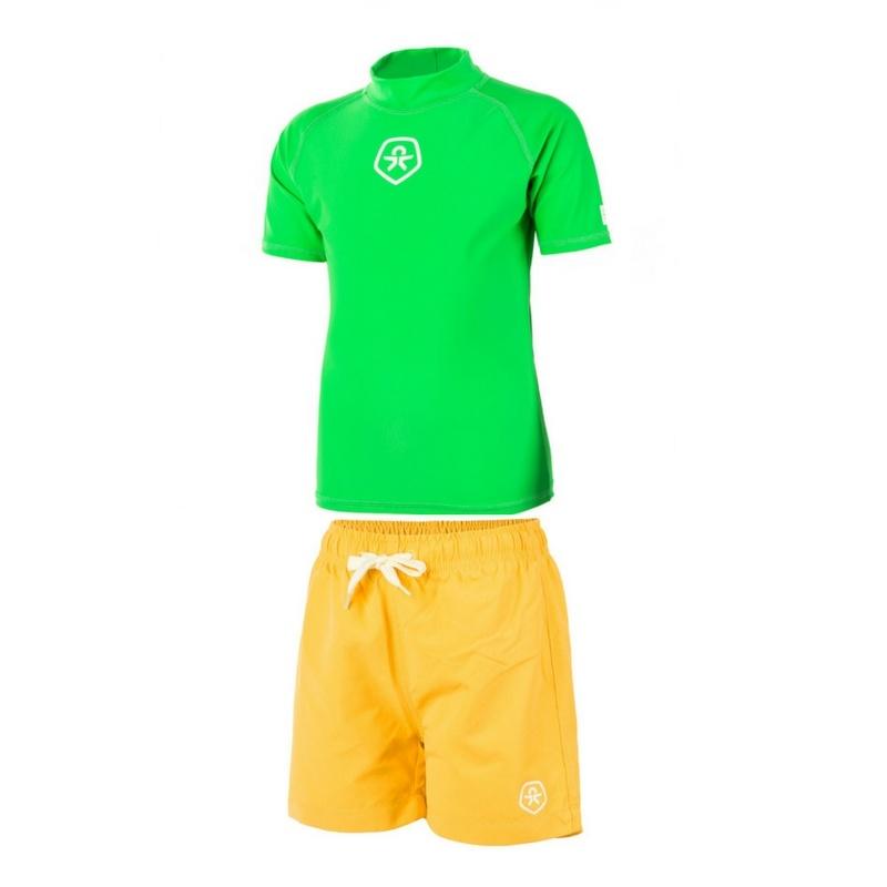 Zwembroek Geel.Uv Zwemset Uv Shirt Green Zwembroek Geel