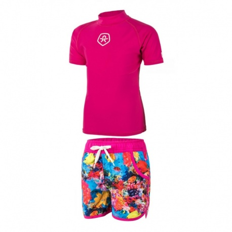 UV setje meisjes : UV shirt Pink + zwemshort Waterworld ColorKids
