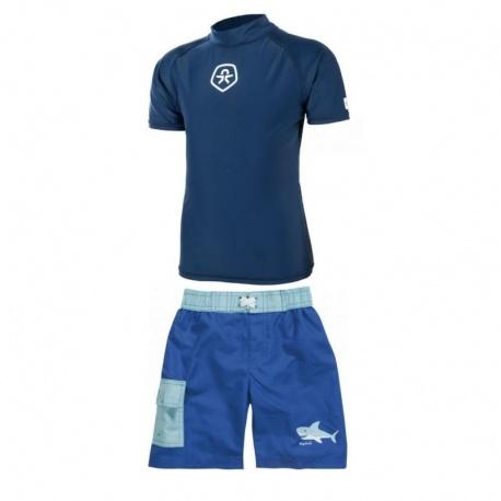 UV shirt Estate Blue + Zwembroek Haai