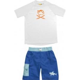UV  shirt White Piraat + zwembroek Haai