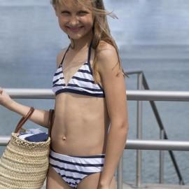 Meisjes Bikini Wit Blauw Gestreept | Bikini Meisjes
