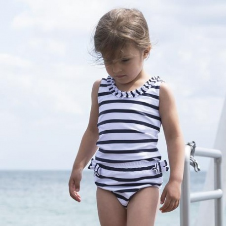 Meisjes Zwemluier Wit Blauw gestreept