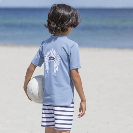UV Shirt Petrol | Jongens zwemshirt Petrol korte mouw & chinese kraag
