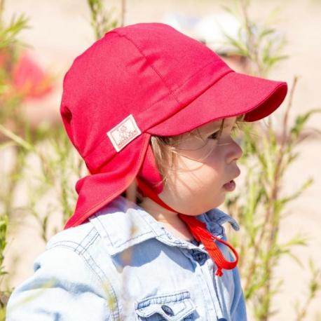 Baby zonnehoedje Rood | Zonnehoedje baby rood met oor en nekbescherming