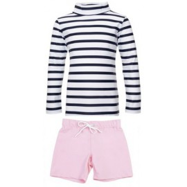 uv shirt gestreept lange mouw & zwembroek roze
