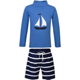 UV Shirt Saffierblauw + Zwembroek Blauw Wit