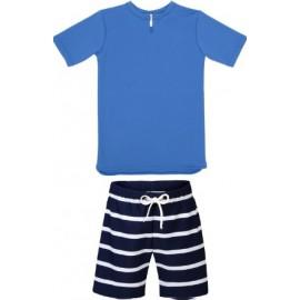 UV Shirt Saffier Blauw + Zwembroek Blauw/Wit