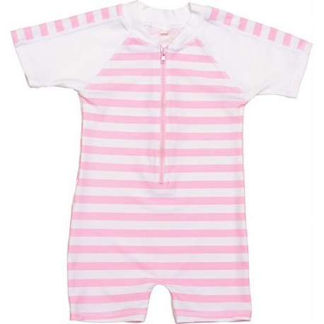 UV baby badpak Pink White stripes