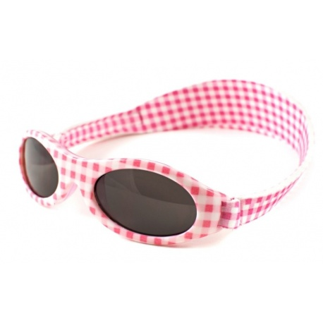KidzBanz zonnebril - Roze wit geblokt (2-5 jr)
