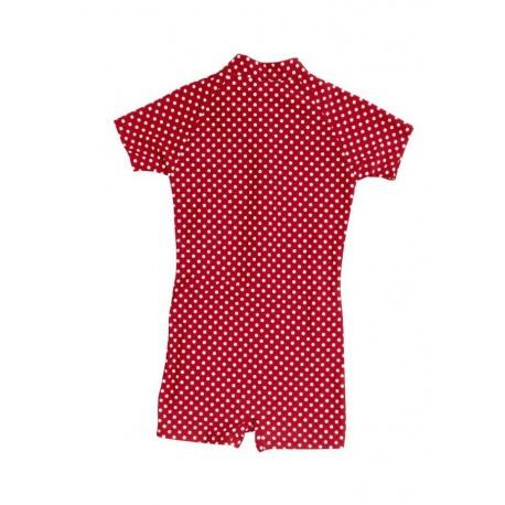 UV baby badpak Rood met witte stippen