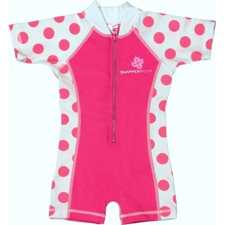 UV baby badpak Hot Pink dots (korte mouw)