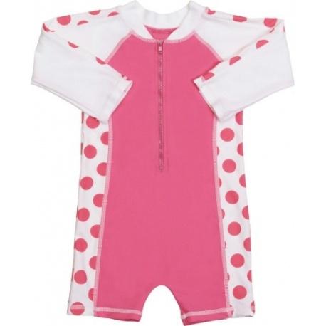 Baby Badpak.Uv Baby Badpak Hot Pink Dots Lange Mouw Uv Baby Badpakje